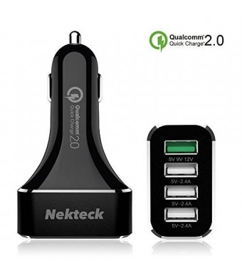 [Qualcomm Certified]Nekteck Quick Charge 2.0 54W 4 Ports USB Rapid Turbo Car Charger for Samsung Galaxy S6/ S6 Edge/ Edge+