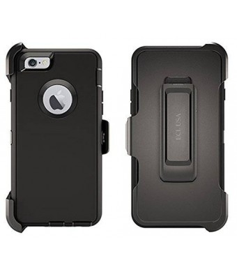 iPhone 6s Plus Case, ECL The Eagle, Tough Case Cover with Belt Clip and Built-in Screen Protector Case for iPhone 6 Plus / 6s Plus (Black/Black)