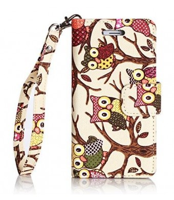 iPhone 6S Plus Case,Thankscase Canvas Wallet Case with Wrist Strap with the Owls Pattern for iPhone 6 / 6S Plus 5.5inch.(Beige Owls)