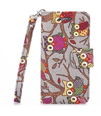 iPhone 6S Plus Case,Thankscase Canvas Wallet Case with Wrist Strap with the Owls Pattern for iPhone 6 / 6S Plus 5.5inch.(Grey Owls)
