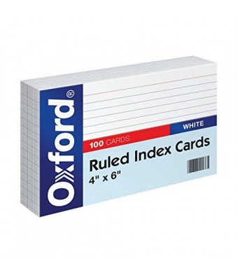 Oxford Ruled Index Cards, 4 x 6 Inches, White, 100 Cards per Pack (41)