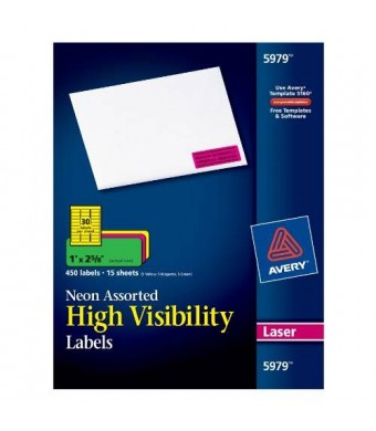 Avery Neon Laser Labels, Rectangle, Assorted Fluorescent Colors, 1 X 2-5/8, 450/Pack (AVE5979)