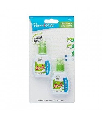 Paper Mate Liquid Paper 2-in-1 Correction Combo, 22 ml Bottle, White, 2 per Pack (42032)