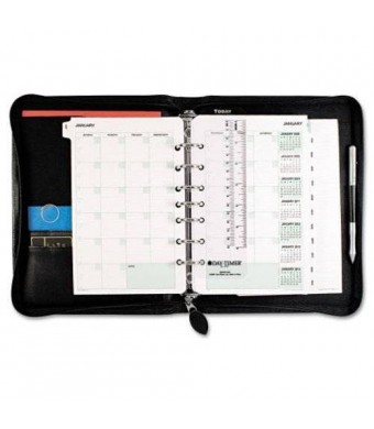 Day-Timer 41745 Recycled Bonded Leather Starter Set, 5 1/2 x 8 1/2, Black Cover