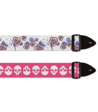 i-CON ASD Guitar Straps - Pink Skulls / Flowers (2-PACK)