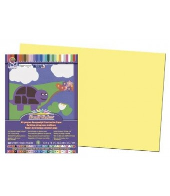 """SunWorks Construction Paper, 12""""X18"""", Yellow, 50 Sheets"""