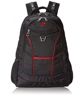 Swiss Gear SwissGear Laptop Computer Backpack SA1775 (Black with Red Accents) Fits Most 15 Inch Laptops