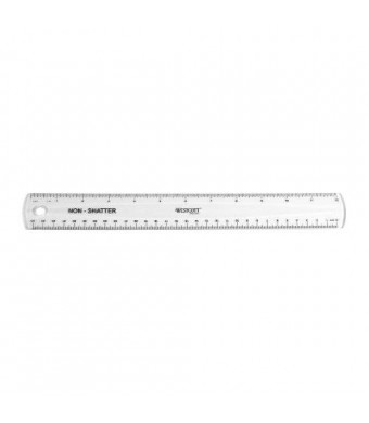 Westcott Non-Shatter Ruler, Clear, 12 Inches,(13862)