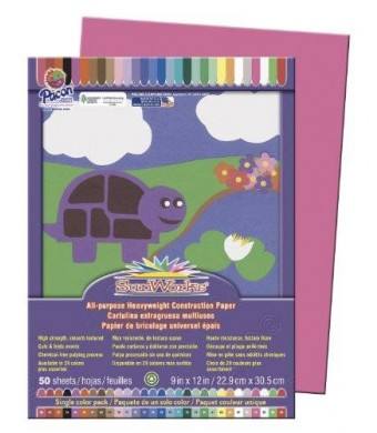 Pacon SunWorks 9103 Construction Paper, 58 lbs., 9 x 12, Hot Pink, 50 Sheets/Pack (PAC9103)