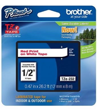 Brother Laminated Tape Red on White, 12mm (TZe232) - Retail Packaging