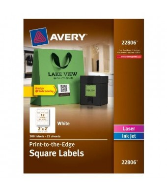 Avery Permanent Square Label, White, Inkjet/Laser, 2 x 2-Inches, Pack of 300 (22806)