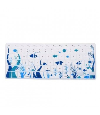 Case Star Ocean series White Keyboard Silicone Cover Skin With The Seaweed And Fish Pattern for Macbook 13-Inch Unibody / Macbook Pro 13