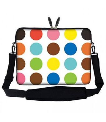 "17 inch Colorful Dot Design Laptop Sleeve Bag Carrying Case with Hidden Handle and Adjustable Shoulder Strap for 16"" 17"" 17.3"" Apple Macbook"