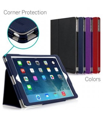 iPad Air Case, [CORNER PROTECTION] CaseCrown Bold Standby Pro (Blue) with Sleep / Wake, Hand Grip, Corner Protection, and Multi-Angle Viewing Stand