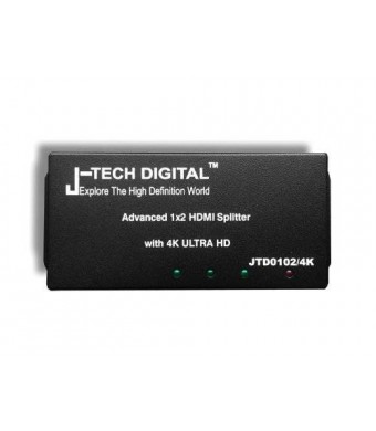 J-Tech Digital JTD0102/4K J-Digital Most Advanced 2 Ports HDMI 1X2 Powered Splitter, Support Ultra HD 4K 3840 A 2160 Resolution and 3D