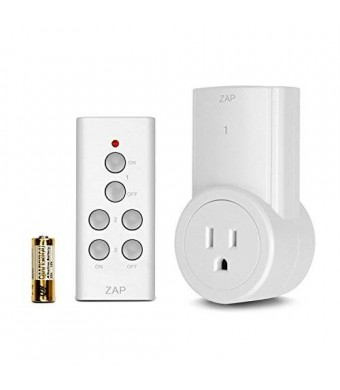 Etekcity ZAP 1L Wireless Remote Control Outlet Light Switch Newest/Smaller Version with a 100-Feet Range for Lamps, Lights and Power Strips, 1-Pack