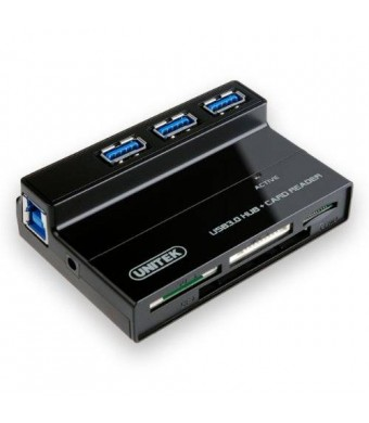 UNITEK 3 Ports USB 3.0 Hub with Multi-In-1 Card Reader with 5V 2A Adapter and USB 3.0 Cable for iMac