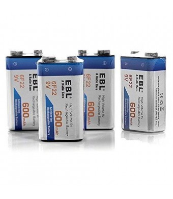 EBL 4 Pack High Volume 600mAh 9V 6F22 Lithium-ion Rechargeable 9 Volt Li-ion Batteries