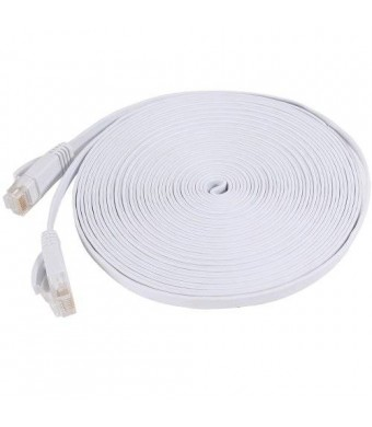 Fosmon Technology Fosmon Cat6 Flat Snagless Network Ethernet Patch Cable (25 Feet, White)