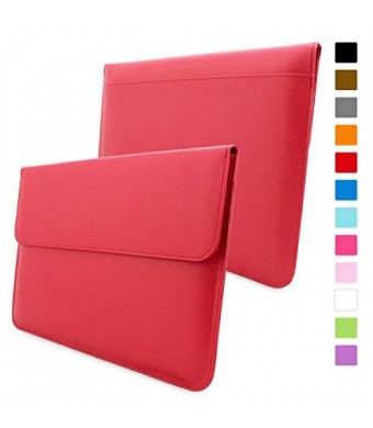 Snugg Macbook Air and Pro 13 Inch Case - Leather Sleeve Case with Lifetime Guarantee (Red) for Apple Macbook Air 13 and Macbook Pro 13 with Retina