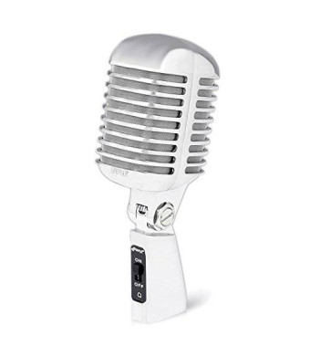Pyle PDMICR42SL Classic Retro Vintage Style Dynamic Vocal Microphone with 15ft XLR Cable (Silver)