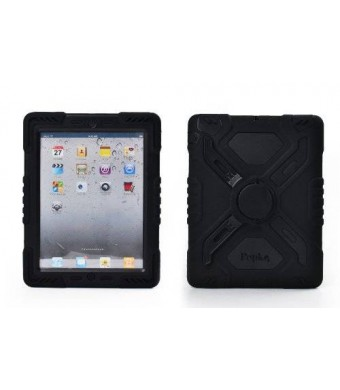 Pepkoo Ipad Mini 1and 2 Case Plastic Kid Proof Extreme Duty Dual Protective Back Cover with Kickstand and Sticker for Ipad Mini 1and2