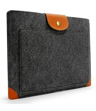 "Lavievert Handmade Gray Felt Case Leather Corner Bag Sleeve with Leather Strap Magnetic Button for Apple 15"" MacBook Pro / 15"" MacBook Pro Retina"