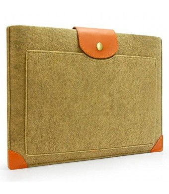"""Lavievert Handmade Camel Felt Case Leather Corner Bag Sleeve with Leather Strap Magnetic Button for Apple 13"""" MacBook Pro"""