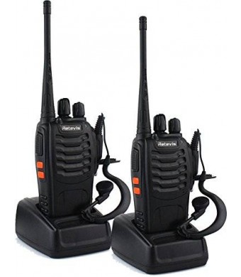 Retevis H-777 Walkie Talkie UHF 400-470MHz 3W 16CH Single Band With Earpiece High Illumination Flashlight Portable 2 Way Radio (1 Pair)