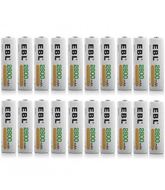 EBL High Capacity 2800mAh AA Ni-MH Rechargeable Batteries, 20 Pack