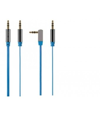 Aurum Cables Pack of 2 - 3.5mm Car Stereo Auxiliary incl one Right Angle Male to Male Flat (Aux-in) Input Cable - 3 Ft Blue