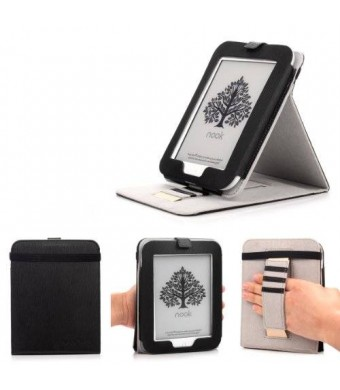 Mulbess - Nook GlowLight 4th Stand Case Cover - Leather Case Cover with Elastic Hand Strap (For Nook GlowLight 4th, Stand Black)