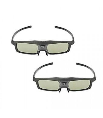 2 Pack of SainSonic Rainbow Series Black 144 Hz 3D Active Rechargeable Shutter Glasses for 3D DLP-Link Projectors