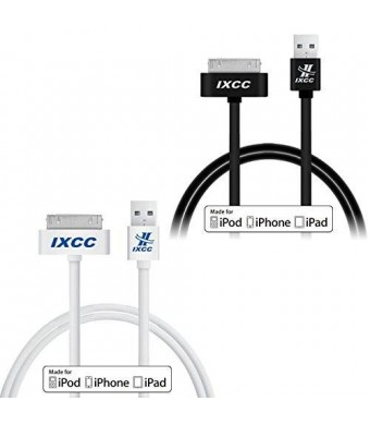 [Apple MFI Certified] iXCC  2 PCS White and Black 3ft (THREE FEET) 30 pin Sync Charge Data Cable for iPhone 4