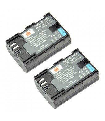 DSTE 2x LP-E6 Replacement Li-ion Battery for Canon EOS 5D Mark II III 5DS 5DS R 6D 7D 60D 60Da 70D 7D mark II III Camera as LP-E6N
