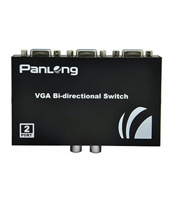 Panlong 2-Port VGA Switch 2 In 1 Out for PC or Monitor Sharing or Switching