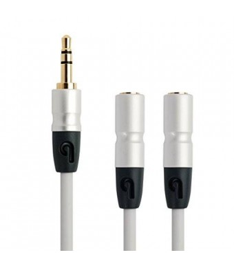 PlugLug 3.5mm Headphone Splitter - 3.5mm Male to 3.5mm Double Female Cable (White) - New Design for iPhone, iPad, Smartphones