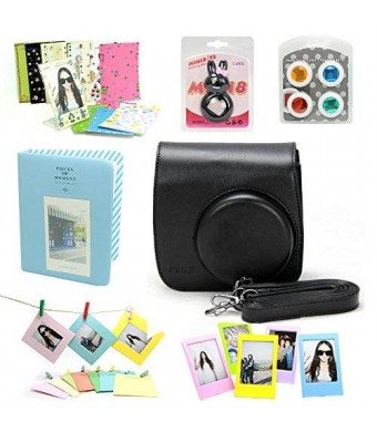 CAIUL Fujifilm Instax Mini 8 Instant Camera Accessory Bundles Set (Included: Black Mini 8 Vintage Case Bag
