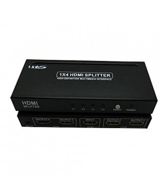 Links 1x4 4 Ports Hdmi Powered Splitter for Full Hd 1080p and 3d Support (One Input to Four Outputs)