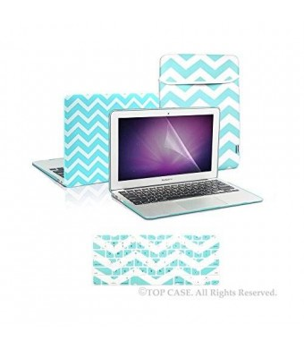 """TopCase 4 in 1 Bundle - Chevron Series Ultra Slim Light Weight Rubberized Hot Blue / Turquoise Hard Case Cover and Matching Color Chevron Zig-Zag Keyboard Cover Skin with LCD Screen Protector Plus Sleeve Bag for Macbook Air 13"""" Model: A1369 and A1466 - wi"""