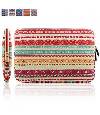 Kamor 11 11.6 inch MacBook Air Bohemian Style Canvas Fabric Sleeve Case Cover Shell Notebook Computer Bag (Lantern Redandbeige)