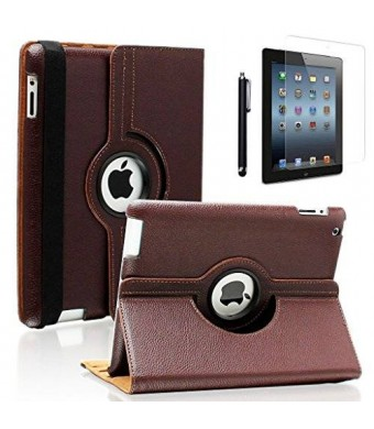 Zeox iPad 2/3/4 Case - 360 Degree Rotating Stand Smart Case (Brown) Cover for iPad with Retina Display (iPad 4th Generation)