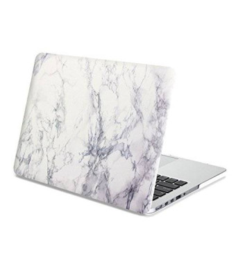 Gmyle Rubber Coated Hard Shell Cover for MacBook Pro 13-Inch with Retina display - White Marble pattern