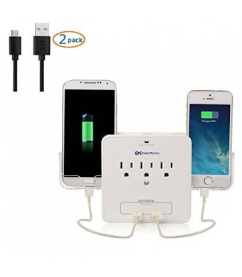 [UL Listed] Cable Matters 3-Outlet Wall Mount Surge Protector with USB Charging and Slide-Out Smartphone Holders