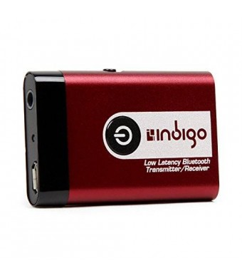 Indigo BTR9L Low Latency Wireless Bluetooth Stereo Transmitter and Receiver 2-in-1 Switchable Adapter for TVs