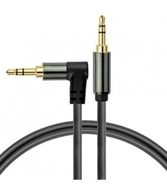 Mediabridge 3.5mm Male To Male Right Angle Stereo Audio Cable (4 Feet) - 90° Connector For Flush Connections - Step Down Design for iPhone