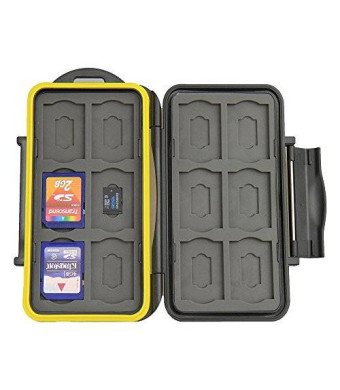 JJC MC-SDMSD24 Water-Resistant Holder Storage Memory Card Case for 12 SD cards + 12 Micro SD Cards