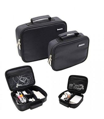 Damero 2pcs/set Portable Electronic Accessories Travel Organizer Case, Cosmetic Bag - New Version