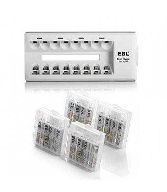 EBL 16 Pack 1100mAh High Capacity Rechargeable AAA Batteries with Charger