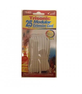 Trisonic Telephone Extension Cord Phone Cable Foot (White, 25 Feet)